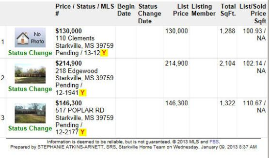 Starkville, MS Real Estate PENDING LISTINGS