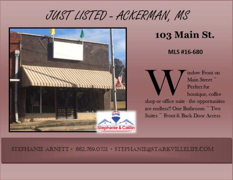 JUST LISTED Flyer -103 Main